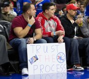 Feb 20, 2015; Philadelphia, PA, USA; Fans with a sign showing support for the Philadelphia 76ers during a game against the Indiana Pacers at Wells Fargo Center. The Pacers defeated the 76ers 106-95. Mandatory Credit: Bill Streicher-USA TODAY Sports